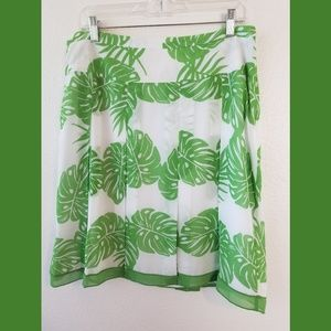 Worthington Palm Print Pleated Skirt Sz 14